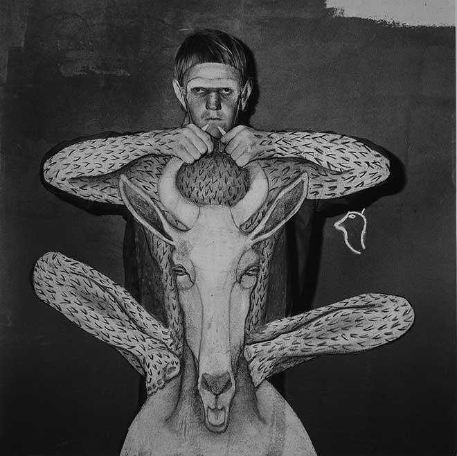 "Hans Lemmen & Roger Ballen, ""Unleashed"" 2018, mixed media, 44 x 44 cm. Courtesy ARTCO Gallery"