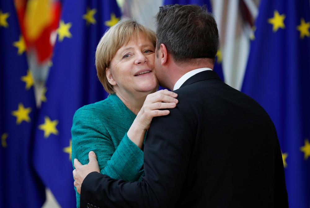 German Chancellor Angela Merkel, and Luxembourg's Prime Minister Xavier Bettel in Brussels. REUTERS/Yves Herman/Contrast