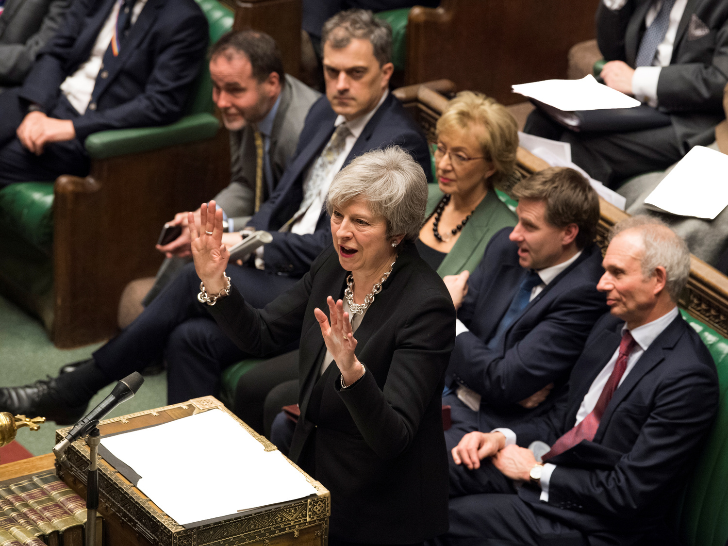 British Prime Minister Theresa May during a parliamentary session on Brexit. Almost three years since the 2016 referendum, London is still part of the EU, no one knows when it will leave and the country is increasingly divided. UK Parliament/Mark Duffy/Handout via REUTERS