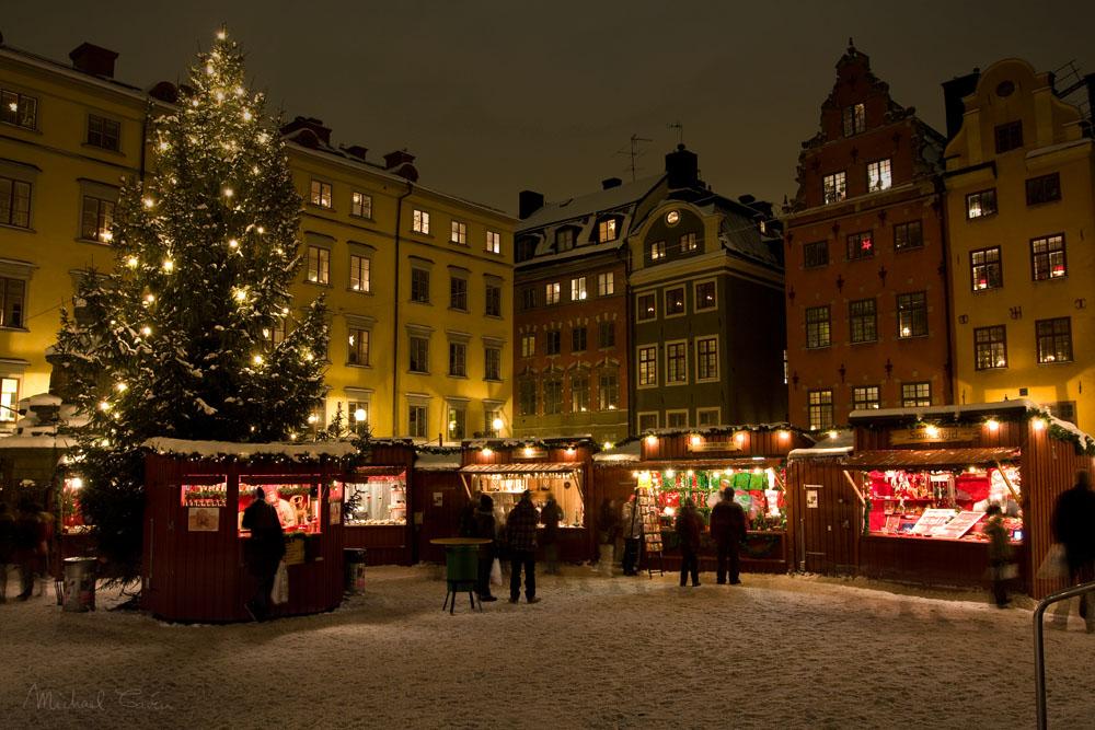 Mercatino di natale nella città vecchia, Stoccolma, Svezia. Foto di Michael Caven