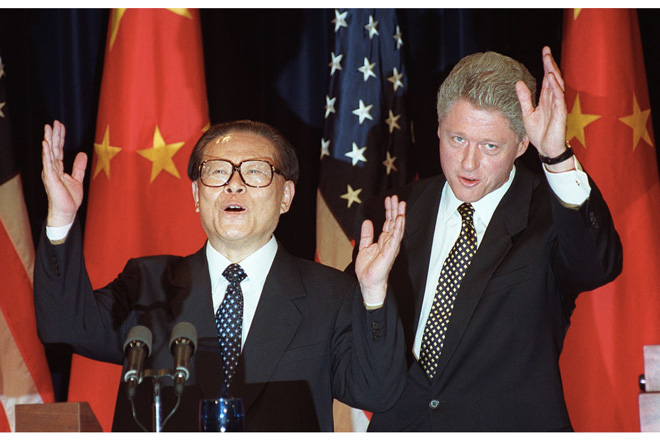Bill Clinton e Jang Zemin.
