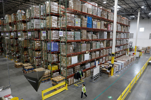 An Amazon warehouse in New Jersey. In 2018 the US giant sold over two billion items in its Prime category alone. The company's value has topped the trillion dollar mark. REUTERS/Shannon Stapleton
