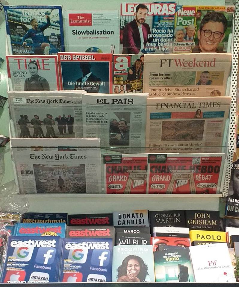 Today's international press. If you want to buy it, please come to our newsstand in Lungotevere dei Mellini 5B (Ponte Cavour corner), Rome