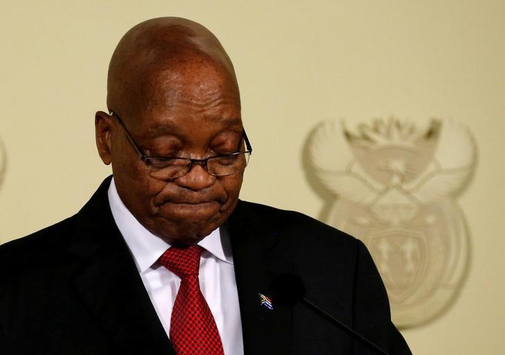 Jacob Zuma durante il discorso nel quale ha annunciato le sue dimissioni da presidente del Sudafrica. Reuters