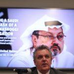 Robert Mahoney, della Commissione per la protezione dei giornalisti, durante una conferenza stampa per un appello alle Nazioni Unite sulla scomparsa del giornalista Jamal Khashoggi. REUTERS/Shannon Stapleton