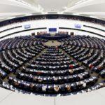 I membri del Parlamento Europeo prendono parte a una sessione di votazioni a Strasburgo, Francia, 13 febbraio 2019. Foto scattata con un obiettivo fisheye. REUTERS/Vincent Kessler