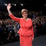 Il Primo Ministro scozzese Nicola Sturgeon dopo aver parlato alla conferenza del partito nazionale scozzese a Glasgow, Scozia, Gran Bretagna, 9 ottobre 2018. REUTERS/Russell Cheyne