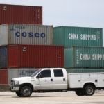 COSCO containers in the port in Miami, Florida. The Chinese Group Ocean Shipping Company, is a Chinese state-owned company that provides shipping and logistic services. REUTERS/Carlo Allegri/Contrast