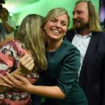 La leader tedesca dei Verdi Katharina Schulze, mentre festeggia i risultati elettorali. REUTERS/Andreas