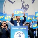Matteo Salvini durante una manifestazione a Milano mostra un cartello con la scritta 15%. REUTERS/Alessandro Garofalo/Contrasto