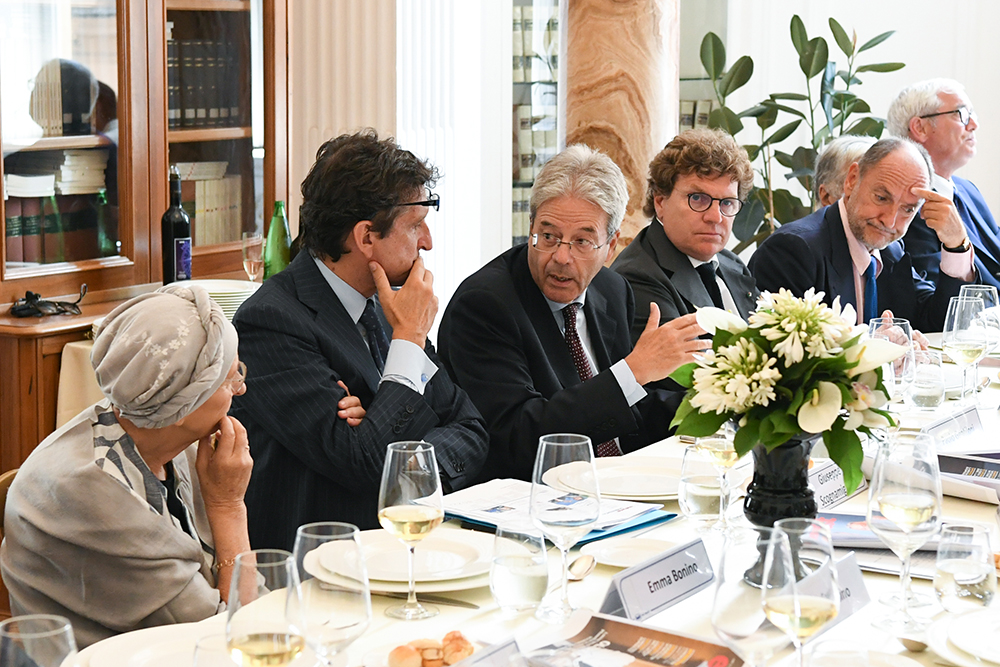 Emma Bonino, Giuseppe Scognamiglio, Paolo Gentiloni during the bimonthly meeting of the Eastwest Scientific Committee in Rome on July 12, 2019. Image by Pier Paolo Carletti