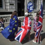 Manifestanti anti-Brexit manifestano a Westminster, Londra, Gran Bretagna, 20 agosto 2019. REUTERS/Hannah McKay