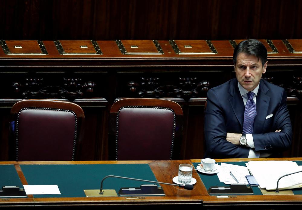 Il Primo Ministro italiano Giuseppe Conte al Parlamento, Roma, Italia. REUTERS/Remo Casilli
