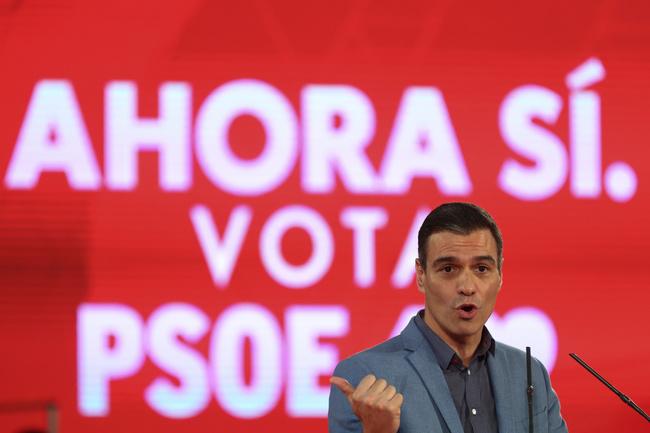 Il leader del Psoe Pedro Sánchez durante la campagna elettorale. REUTERS/Sergio Perez