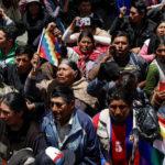 Sostenitori dell'ex Presidente boliviano Evo Morales prendono parte a una protesta, a La Paz, Bolivia, 21 novembre 2019. REUTERS/Marco Bello