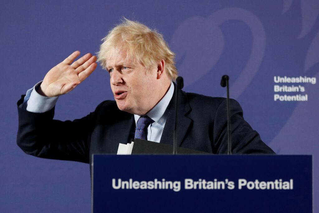 Brexit: Ue e Gran Bretagna verso una possibile uscita senza accordo. Il Primo Ministro britannico Boris Johnson a Londra, Gran Bretagna. Frank Augstein/Pool via REUTERS