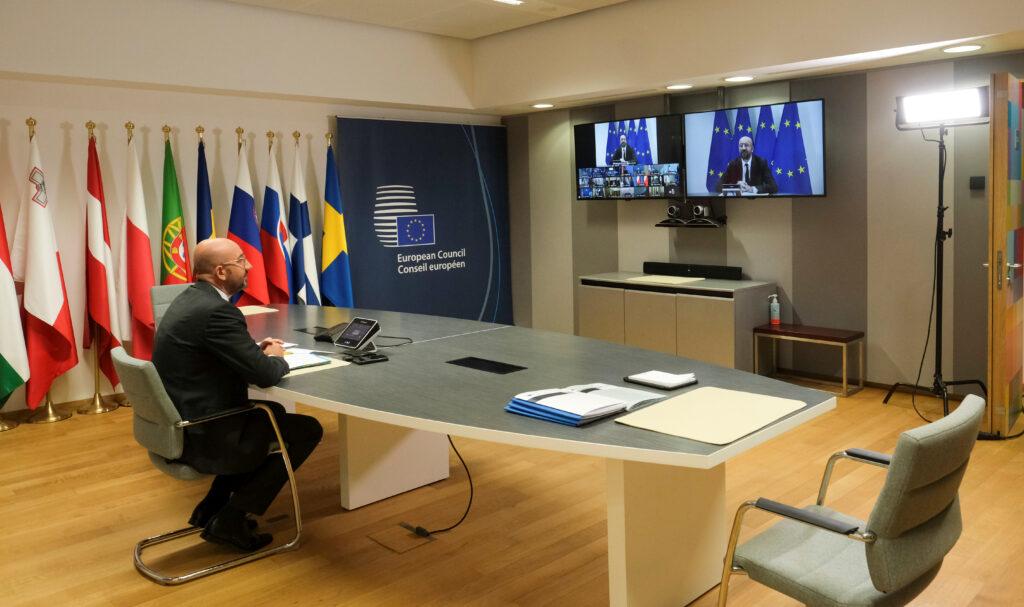 Recovery Fund, Consiglio europeo: accordo a luglio.Il Presidente del Consiglio europeo Charles Michel durante la videoconferenza con i leader europei a Bruxelles, Belgio, 19 giugno 2020. Olivier Hoslet/Pool via REUTERS