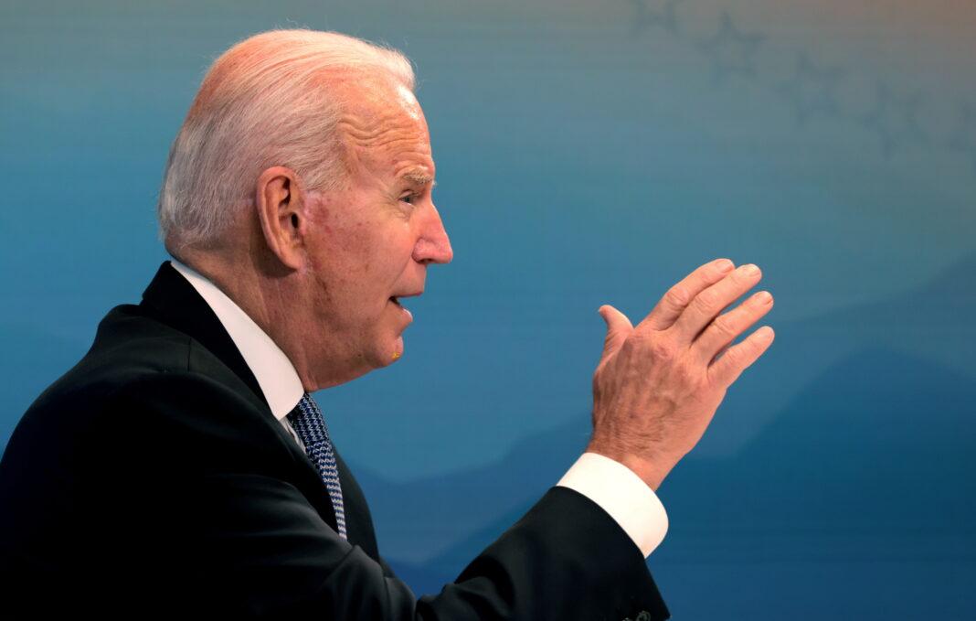 Il presidente degli Stati Uniti Joe Biden durante un briefing virtuale con i Governatori sulla prevenzione contro gli incendi. Casa Bianca. Washington DC. 30 luglio 2021